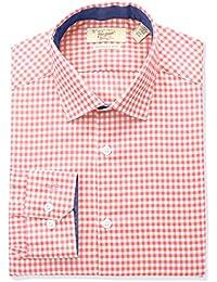 Men's Slim Fit Spread Collar Performance Gingham Dress Shirt