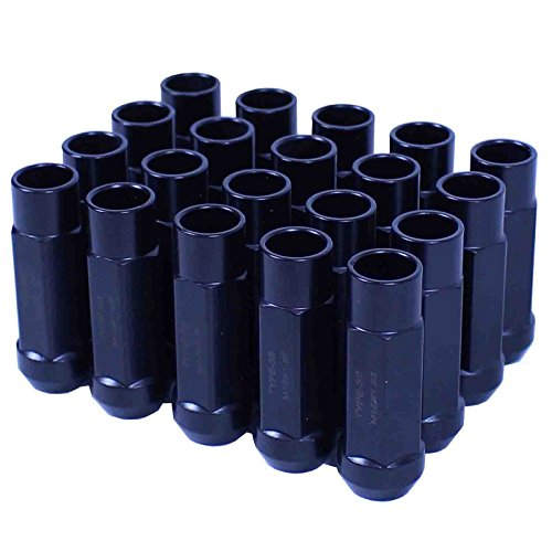 Godspeed New Type 3-X BLACK 12mm x 1.25 Thread Size Cold Forged SCM-435 Steel Black Finish Open End Lug Nut, (pack of - I35 Open Is