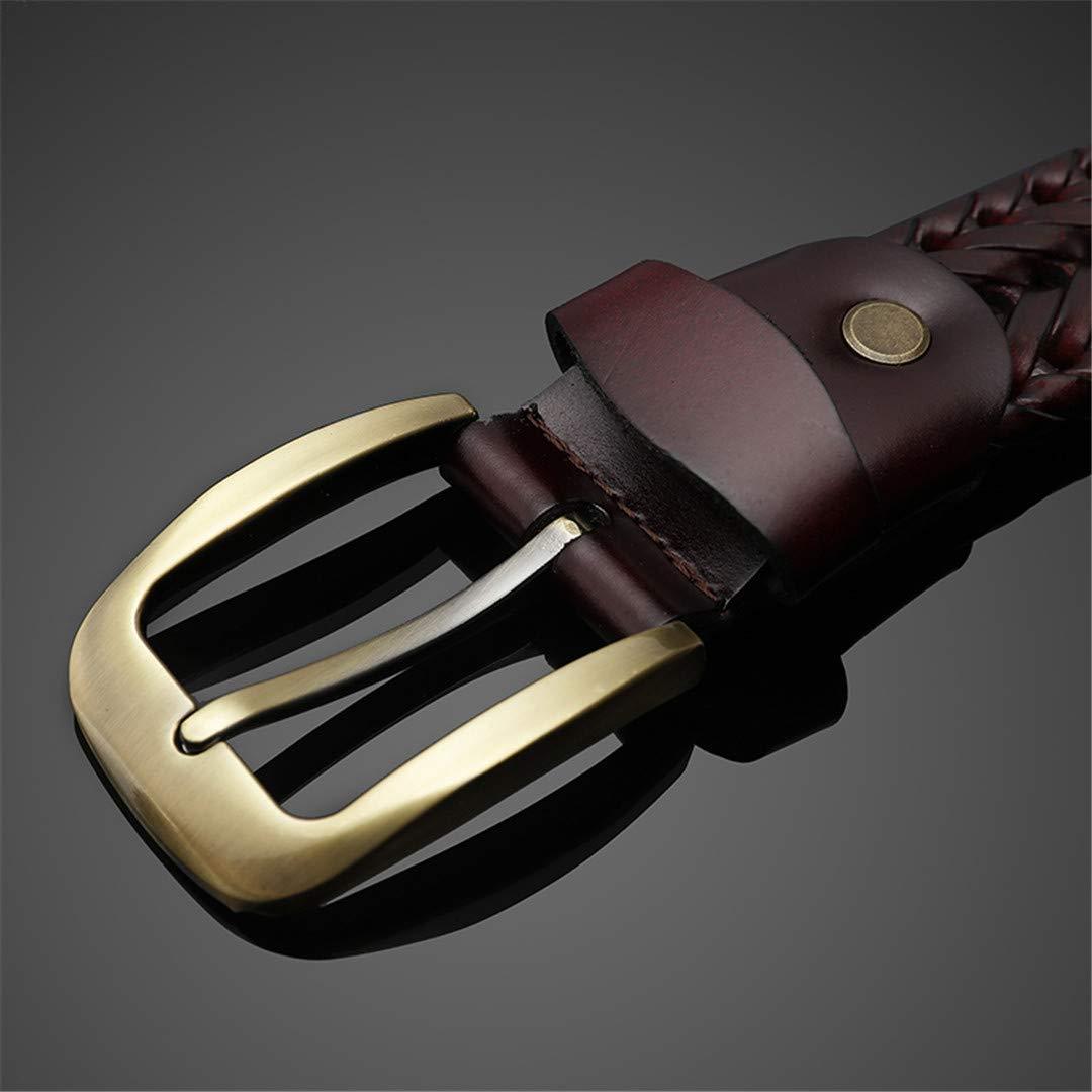 JUIHUGN Woven Belt Genuine Leather Womens Straps Man Belts Wide Girdle Male Cow Skin Vintage Femme Man Brown BZ 100cm
