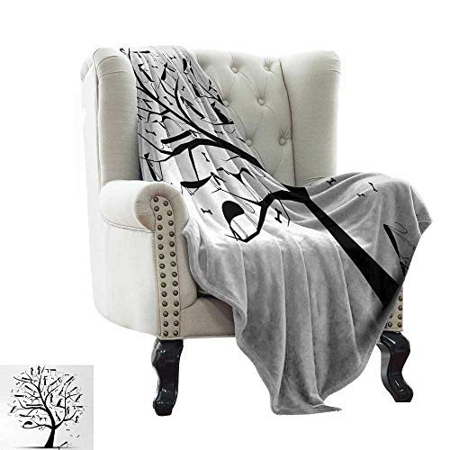LsWOW Personalized Baby Blanket Abstract,Monochrome Autumn Season Tree with Dog Silhouettes on The Branches Dachshund,Black and White Soft Summer Cooling Lightweight Bed Blanket 70