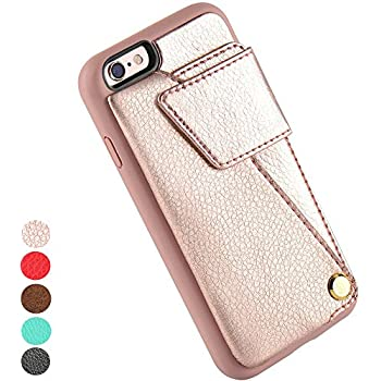 iPhone 6 Card Holder Case, ZVE iPhone 6S Wallet Case, Durable Shockproof iPhone 6 / 6S Case with Credit Card Slot Holder, Protective Leather Wallet Case for Apple iPhone 6 / 6s (4.7inch) Rose Gold