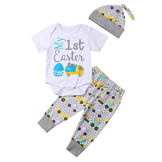 ccf93cfeaa441 3Pcs Cute Kids Sets, Infant Baby Girls Boys Easter Egg Car Letter Print  Romper +Pant +Hat Causal Outfit Set: Sports & Outdoors