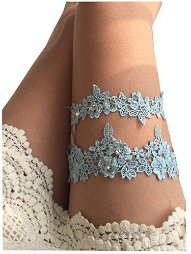 YuRong Wedding Flower Garter Rhinestone Garter Bridal Leaf Garter G06 (Blue)