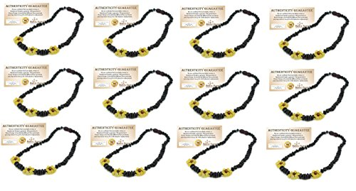 12 Pack - Baltic Amber 12.5 Inch Teething Necklace for Babies (Black Cherry) Raw Unpolished - Baby, Infant, and Toddler. Drooling & Teething Pain (12 Pack - Wholesale)