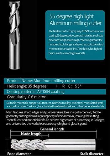 HWW-Drills, 1pc Aluminum Cnc Endmill Carbide Cutting HRC55 3 Flute Milling Cutter End Mill For Aluminum Copper Processing Cnc Tools (Size : 12x12Dx75L)