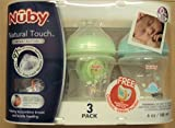 Baby : Nuby 3-Pack Natural Touch 6 oz Printed Baby Bottles & Comfort Pacifier BPA-Free 0+ Months