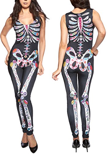 Women Adult Party Fancy Sugar Skull Adult Womens Halloween Catsuit Skeleton Bodysuit Costume Romper (Bodysuit Costume Party City)