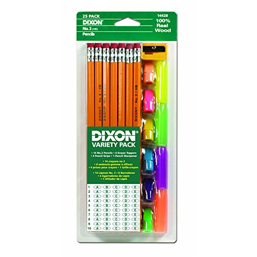 Economy Pencil - Dixon Economy Pencil Variety Pack, 14 Number 2 Soft Pencils, 6 Eraser Toppers, 4 Pencil Grips, and Sharpener (44424)