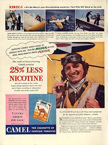US Navy Dive Bomber XSB2C-1 test pilot Bill Ward Camel Cigarettes ad 1941 ()