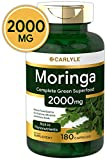 Moringa Oleifera 2000 mg 180 Capsules - Complete Green Superfood | Non-GMO,Gluten Free | from Moringa Leaf Powder | by Carlyle