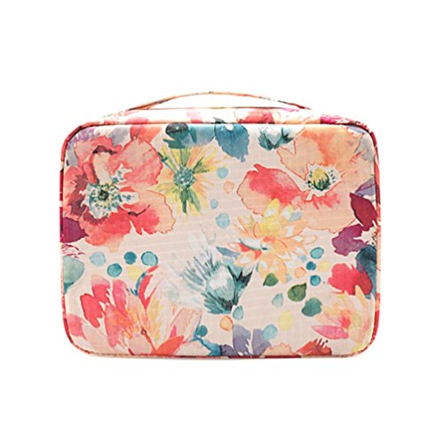 Price comparison product image Ac.y.c Makeup Cosmetic Bag Toiletry Travel Kit Organizer-Multi-Function Cute Printed Pouch for Little Young Girl White Baroque