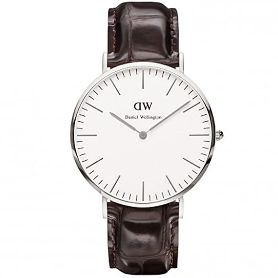 19c6b831f3b984 Daniel Wellington Classic York Silvertone 40mm Brown Croc Strap Watch  0211DW: Amazon.ca: Watches