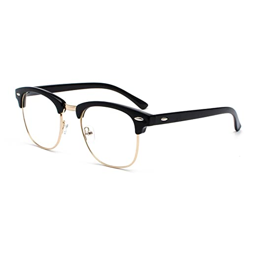 6114c419472 Amazon.com  Semi Rimless Clear Lens Glasses Frame Classic Men Women Brand  Designer Reading eyeglasses Vintage Square Half Frame Eyewear (Transparent  ...