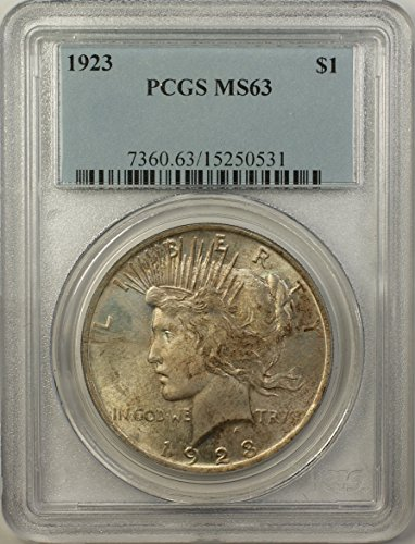 1923 Peace Silver Dollar Coin (ABR13-D) Obverse Toned $1 MS-63 PCGS