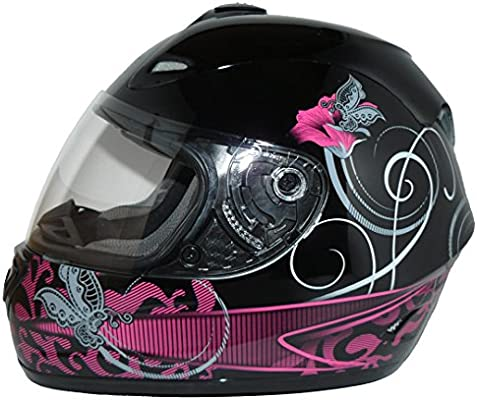 Black//Violet ProtectWear Motorcycle Full Face Helmet with Street Design M