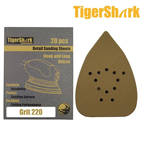TigerShark 5-1/4 by 3-3/4 Mouse Detail Sanding Sheets Sander Paper Pads 133mm by 95mm for B&D Grit 220 Hook and Loop (Sander Super Pad)