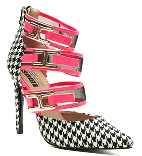 Pump High Houndstooth Heel (Red Kiss Houndstooth Pointy Toe Pump High Heel Shoe Pink sz.6)