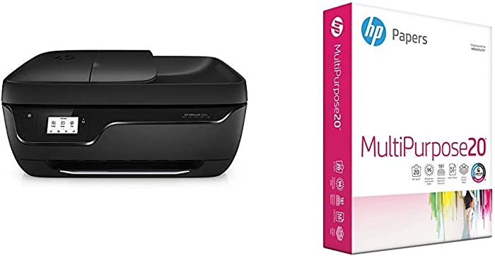 HP OfficeJet 3830 All-in-One Wireless Printer, HP Instant Ink & Amazon Dash Replenishment Ready & HP Printer Paper, Multipurpose20, 8.5 x 11 Paper, Letter Size, 20lb Paper, 96 Bright, 500 Sheets