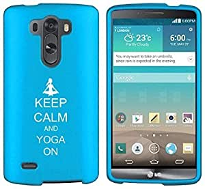 LG G4 Snap On 2 Piece Rubber Hard Case Cover Keep Calm and Yoga On (Light Blue)