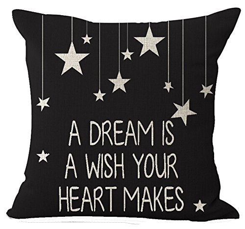 European Black Popular Warm Funny A Dream is A Wish Your Heart Makes Cotton Linen Throw Pillow Case Cushion Cover New Home Indoor Decorative Square 20 X 20 Inches