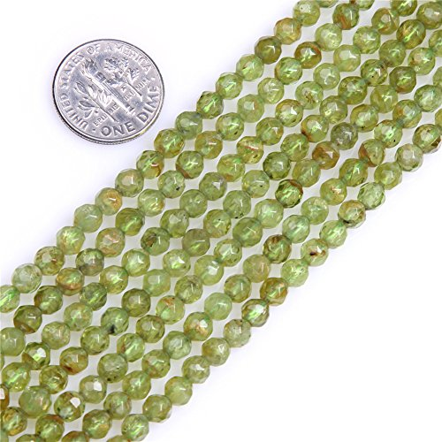 - Olivine Peridot Beads for Jewelry Making Natural Gemstone Semi Precious AAA Grade 4mm Round Faceted 15