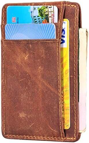 Hopsooken Slim Wallet RFID Minimalist Wallet Front Pocket Wallet Genuine Leather