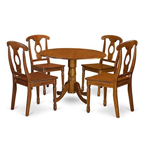 East West Furniture DLNA5-SBR-W 5-Piece Kitchen Nook Dining Table Set, Saddle brown Finish -