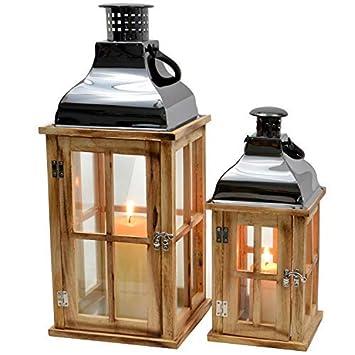 2er Set Laternen Aus Holz 46cm 31cm Shabby Landhaus Vintage