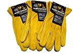 Wells Lemont Premium Leather Work Gloves 3pk (medium)