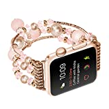 Ginamart Fashion Beaded Jewelry Bracelet Strap Watch Replacement Band For Apple Watch Series 2/1 38mm/42mm (Beige 38mm)
