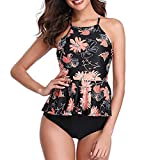 Women Vintage Two Piece Swimsuits High Waisted Swimsuits Floral Print Ruffled Top with Swim Bottom Tankini Bathing Suits