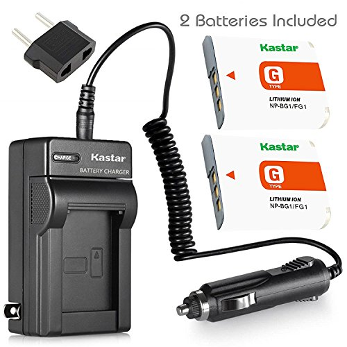 Kastar NP-BG1 Battery (2-Pack) and Charger Kit for Sony NP-FG1, BC-CSG and Sony Cyber-Shot DSC-H50, Cyber-Shot DSC-H10, Cyber-Shot DSC-W120, Cyber-Shot DSC-W170, Cyber-Shot DSC-W300 Digital Cameras (Sony Cyber Shot Dsc W170 Battery Charger)
