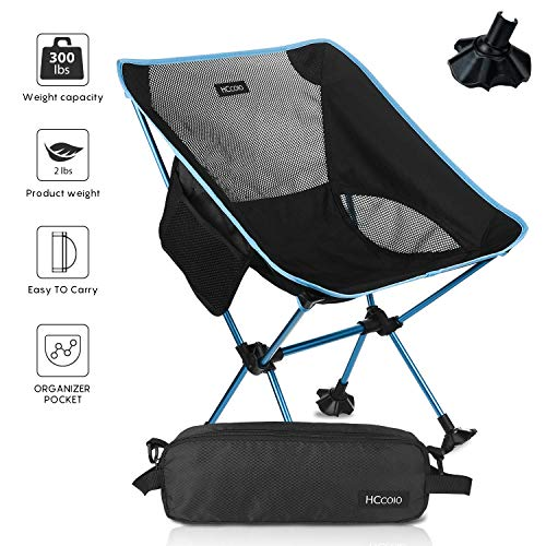 HCcolo 【Upgrade Non-Slip Feet Camping Chair-Lightweight Folding Camping Backpack Chairs with 300 lbs Capacity,for Outdoor Camp,Travel,Beach, Picnic, Festival, Hiking(Camping Chair only 2 lbs) (Blue)