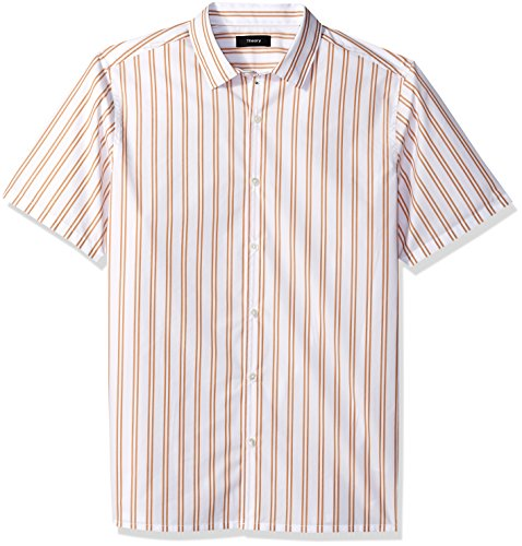 Theory Men's Murrary Bold Stripe Short Sleeve, Sunset, M