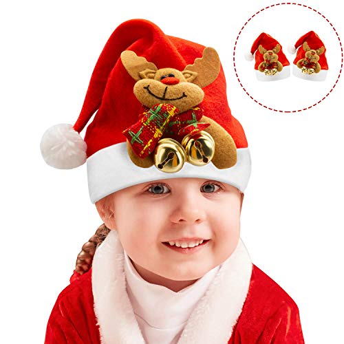 Christmas Hats for Kids, Christmas Santa Hat for Toddler, Child Adorable Soft Comfort Christmas Reindeer Costume Gift for Celebrations & Recreation for Boys & Girls under the age of 6 (2PCS) (Hat Christmas Decorate)