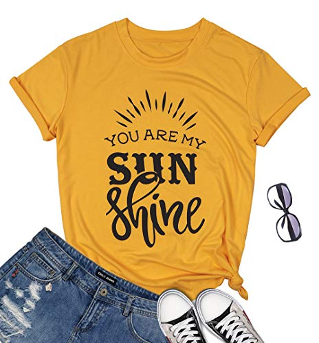 You are My Sunshine T-Shirt Women Letter Print Rainbow Graphic Tees Casual O Neck Short Sleeve Tops Size Small (Yellow)