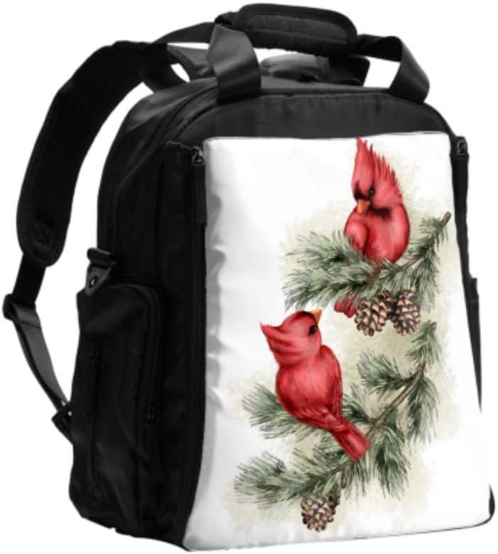 Bolso cambiador Cardenal pájaro rojo con campanas Mochila para pañales Bolso para pañales Mochila de viaje multifunción con almohadilla para cambiar pañales para el cuidado del bebé