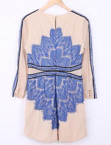 PU&PU Robe Aux femmes Moulante Décontracté , Imprimé Col Arrondi Au dessus du genou Polyester , blue-l , blue-l