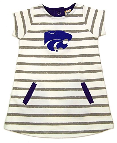 - Little King NCAA Kansas State Wildcats Striped Dress with Team Color Trim, 3T, Ivory