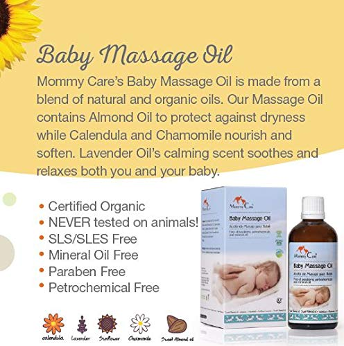 Mommy Care Baby Massage Oil - Natural Organic Eco Almond Oil for Babies With Calendula and Chamomile for Skin Nourishment 3.38 fl.oz