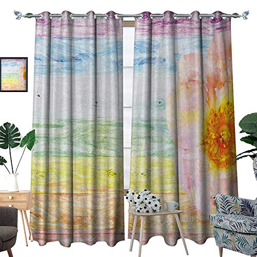 Rustic Room Darkening Wide Curtains Wild Rose Flower on Wooden Colored Watercolor Artwork Summer Floral Beauty Print Decor Curtains by W72 x L108 Multicolor (100 Colored Pc Wooden Blocks)