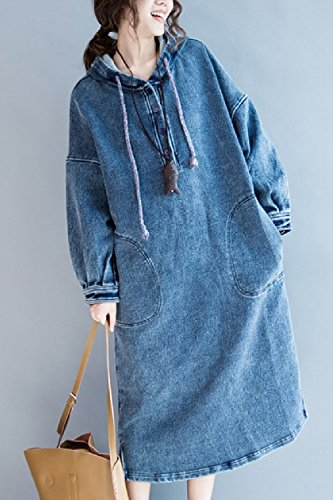 Mujer Denim Up Shift Sleeve Vestidos yulinge Azul Button Vaqueros Long Maxi Hooded 5wncFTSq