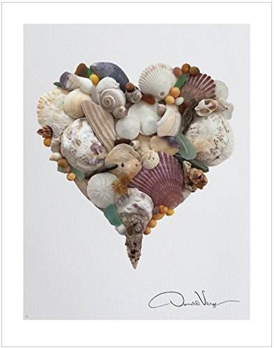 Love - Sea Shell Heart Poster Print. 11x - Girls Beach Bedroom Shopping Results