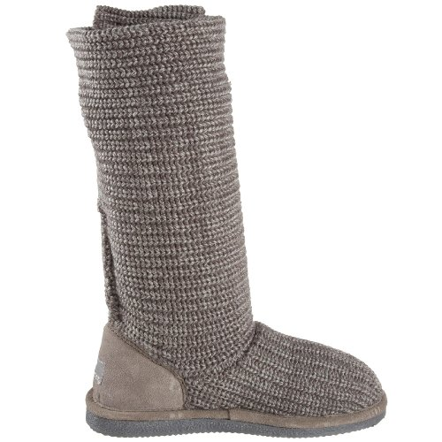 Ii Fur Grey Bearpaw Tall Knit Gray Boot Trimmed Women's 055 qx7Yw8