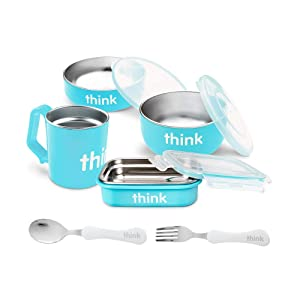 Thinkbaby 9-Piece Feeding Set | Baby Bowl, Cereal Bowl, Bento Box, Lids, Kids Cup, Fork & Spoon | BPA-Free, Stainless Steel Removable Interior - Light Blue