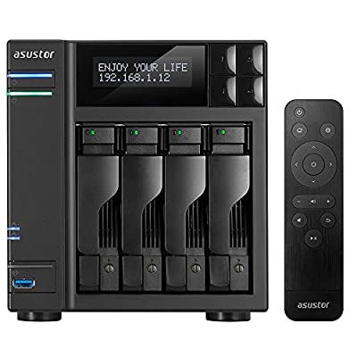 Asustor AS6404T + AS-RC13 Remote   1.5GHz Quad-Core, 8GB RAM   Personal Private Cloud   Home or Business Data Media Server   Network Attached Storage (4 Bay Diskless NAS)