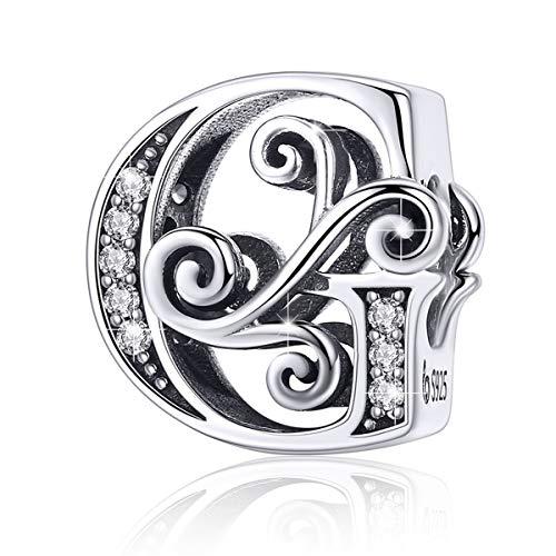 BAMOER 925 Sterling Silver Initial Letter G Charms for Snake Chain Bracelet Necklace Alphabet Beads