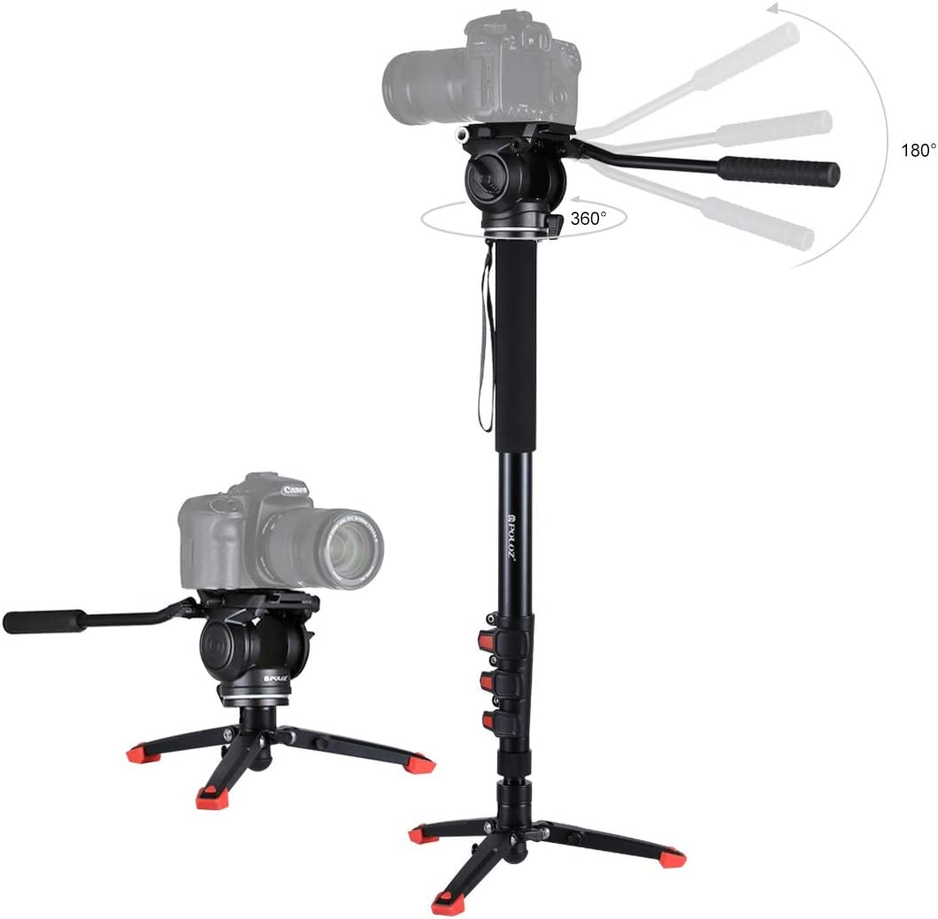 Hyx Four-Section Telescoping Aluminum-Magnesium Alloy Self-Standing Monopod with Support Base Bracket Camera Parts Accessories