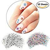 3D Nail Sticker for Girls Ladies Students Nail Art Design Decoration Decals 50 Sheets