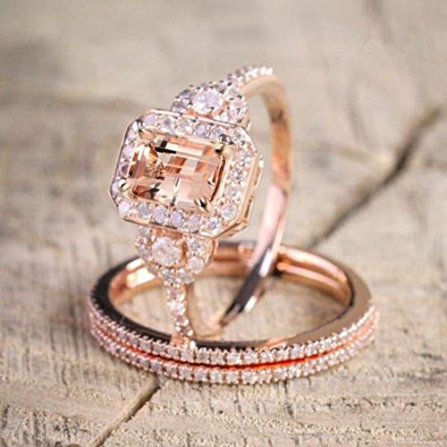 Duan Gorgeous 18K Rose Gold Filled Morganite Ring Engagement Bridal Women Jewelry Set Size 6-10 (US Code 7)
